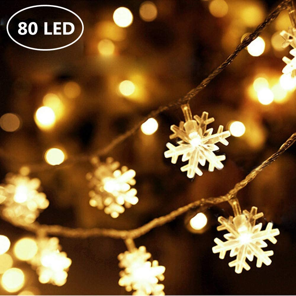 Snowflake LED Fairy Lights 5M Snowflake Shaped LED String Lights with Remote Control for Chrismas, Party, Indoor Outdoor Celebration, Wedding, New Year, Garden Décor Warm White (USB 80 LED,)