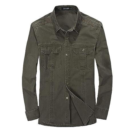 Lino Camisas <BR>Camisas de Manga Larga para Hombre Camisa ...