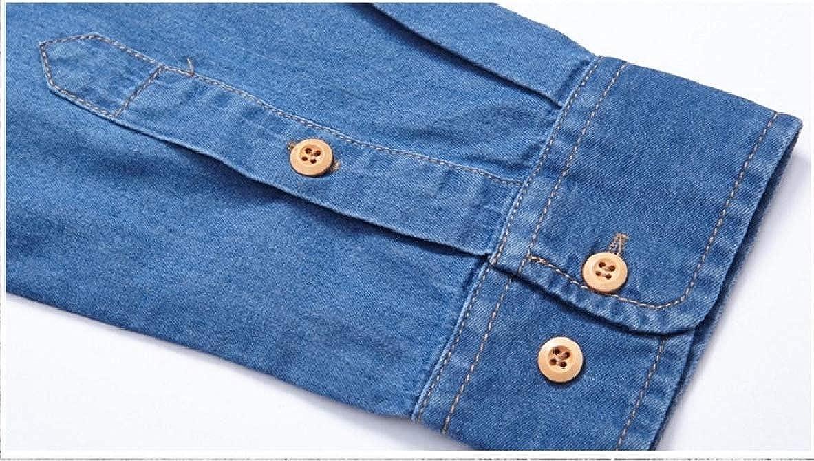 VividYou Mens Cotton Denim Plus Velvet Business Collar Shirt