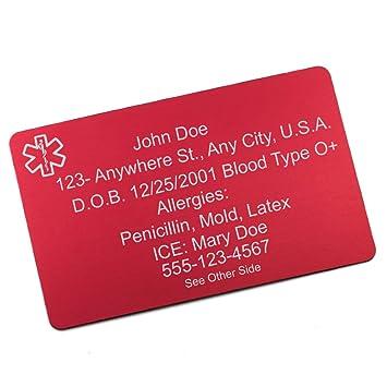 Amazon.com: stickyj EE. UU. Rojo Aluminio Tarjeta de alerta ...