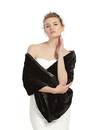 45cd1bc64c Shawl Wrap Faux Fur Shrug Stole Scarf Winter Bridal Wedding Cover Up Black