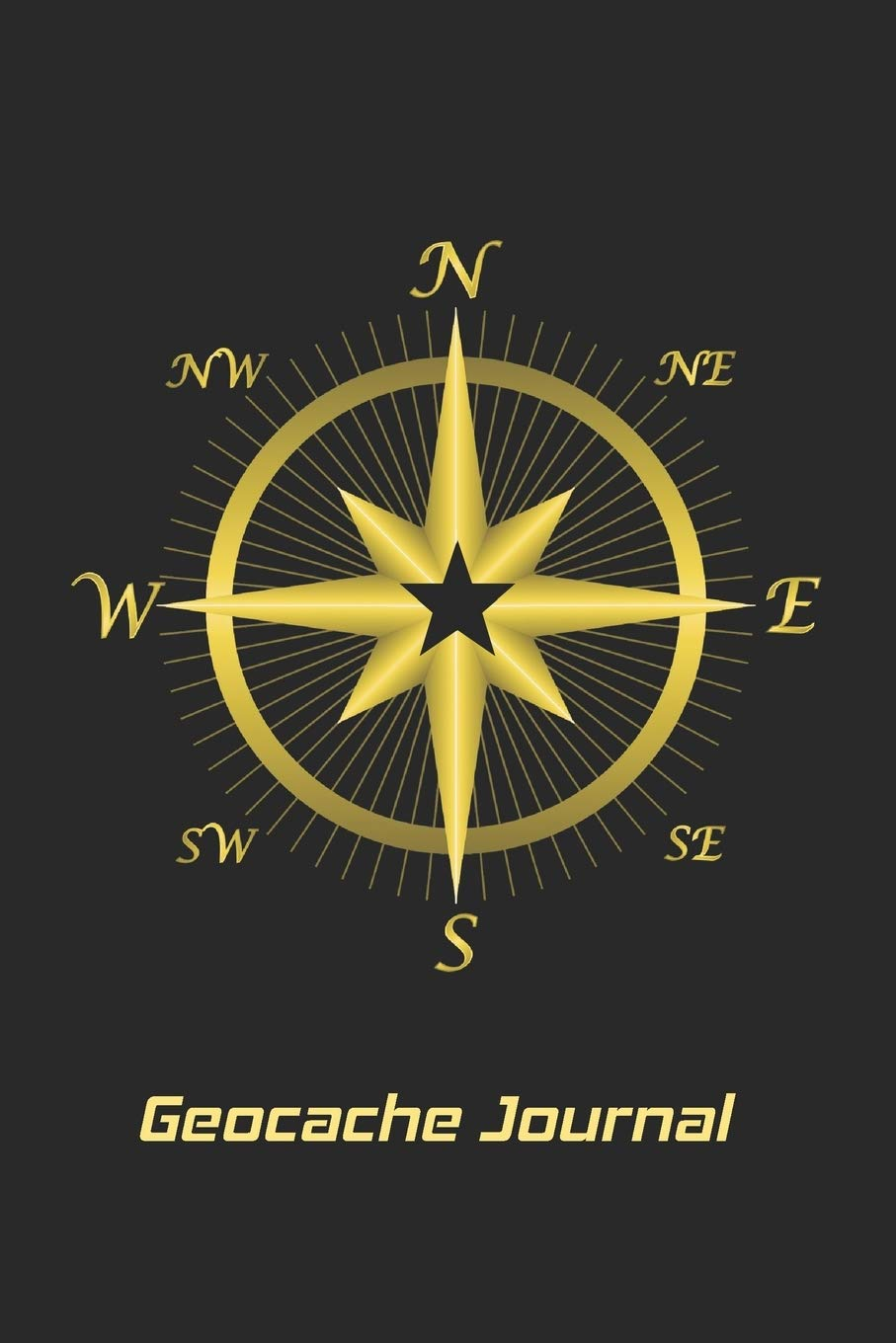 Personal Book for keeping track of important GeoCache Treasure Information-Black//Gold Compass Geocache Journal