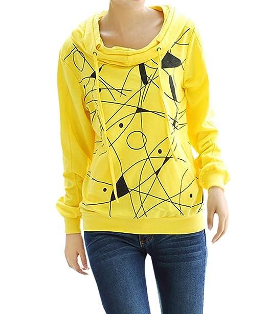 Simple-Fashion Primavera y Otoño Mujeres Sudaderas con Capucha Casual Impresion Pullover Tops Suéter Blusa Joven Moda Camisetas de Manga Larga Sweatshirt ...