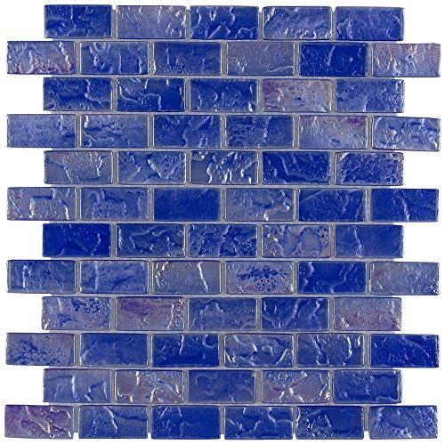 "Electric Blue Mosaic Glass Tile 1""x2"" for Bathroom, Backsplash, Kitchen or Pool/Spa"