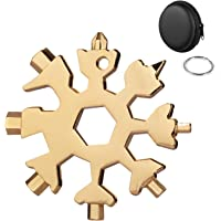 Huker Multifunctionele gereedschapsleutelhanger, roestvrij staal, 18-in-1 draagbare schroevendraaier, sneeuwvlok-design…