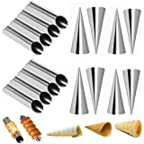 Set of 16 Stainless Steel Cannoli Tubes and Pastry Cream Horn Molds,Large Size DIY Baking Kit Cone Tubular Shaped Mold…