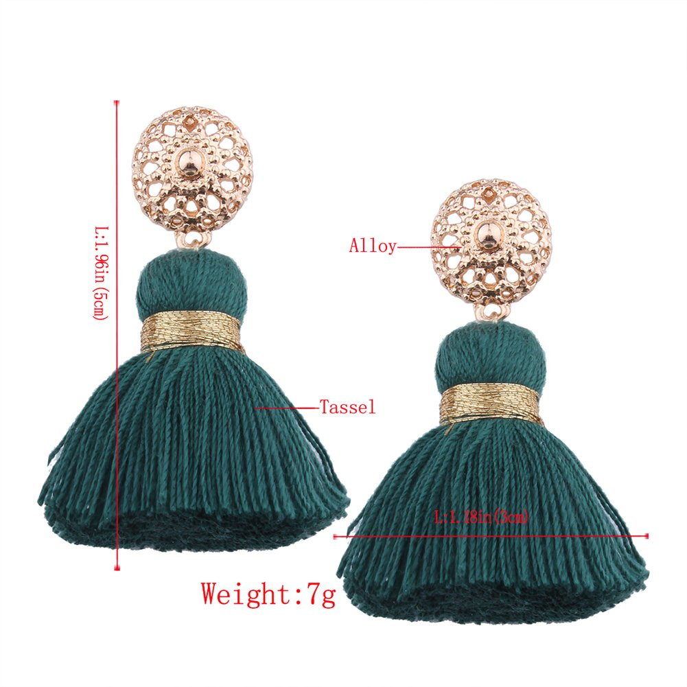 Aibelly Bohemian Retro Ethnic Short Tassel Statement Chandelier Dangle Drop Earrings New Fashion Handmade Thread Stud Earrings for Woman Girls by Aibelly (Image #9)
