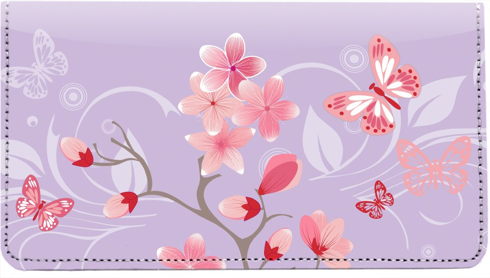 Cherry Blossoms Personal Leather Checkbook Cover by Carousel Checks Inc.