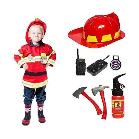 Juego De Disfraces para Niños, Disfraz De Bombero Cosplay Disfraz De Bombero Outfit, Juego de niños