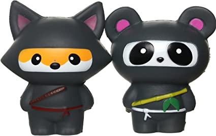 TEEGOMO Kawaii Ninja Panda and Fun Ninja Fox Stress Relief Toy Slow Rising Scented Jumbo Squishy Squeeze Squishies and Gifts