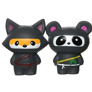 TEEGOMO Kawaii Ninja Panda and Fun Ninja Fox Stress Relief Toy Slow Rising Scented Jumbo Squishy Squeeze Squishies and Gifts