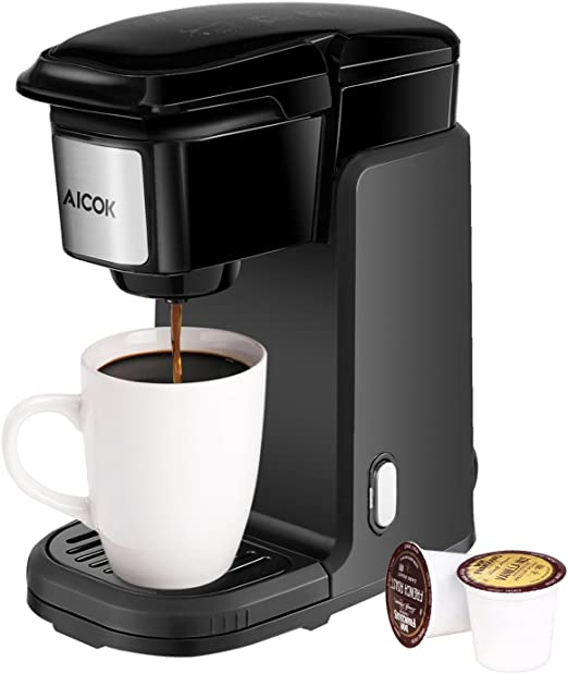 Single Serve Coffee Maker, AICOK Single Cup Coffee Maker, 800W Single Serve Coffee Brewer For K Cup Pods, One Cup Coffee Maker with Quick Brew ...