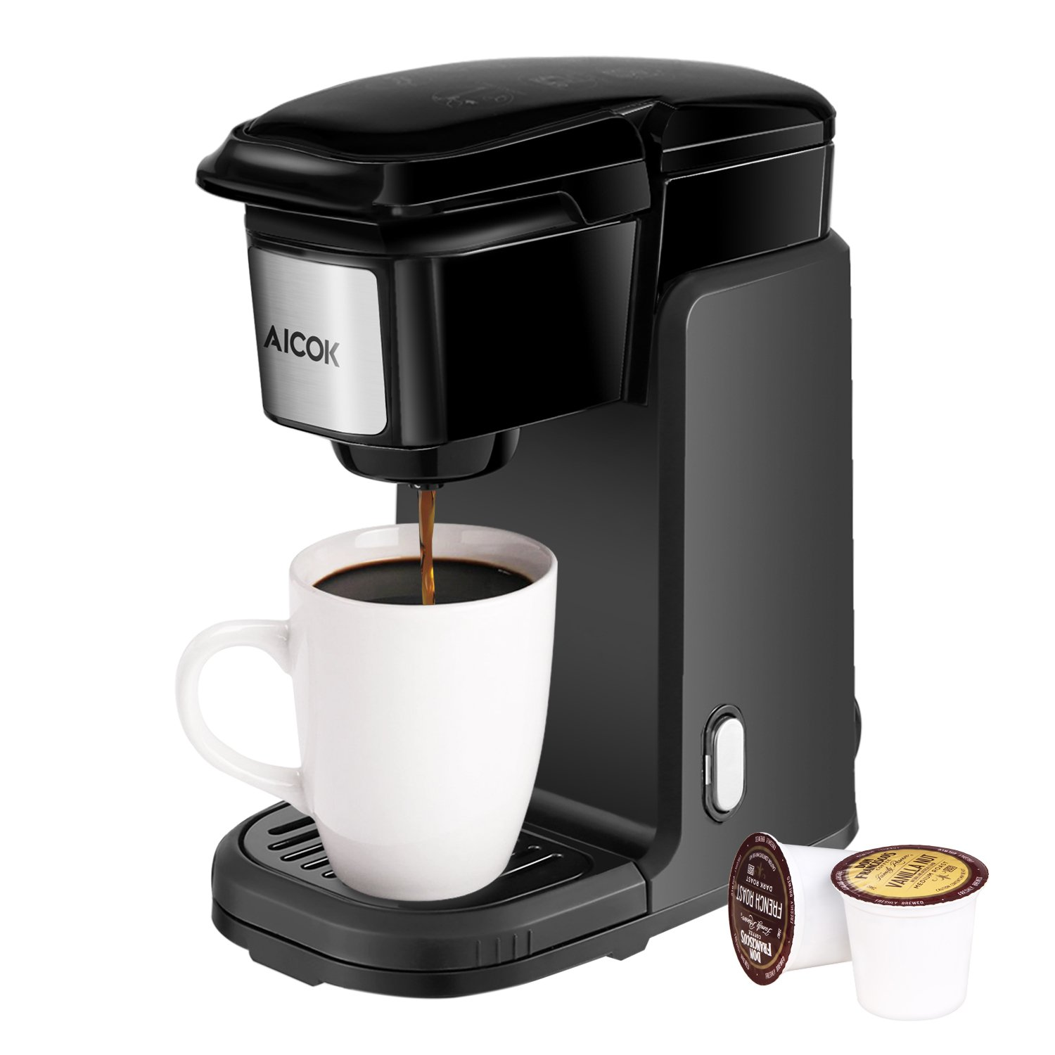 Single Serve Coffee Maker, AICOK Single Cup Coffee Maker, 800W Single Serve Coffee Brewer For K Cup Pods, One Cup Coffee Maker with Quick Brew Technology, Black
