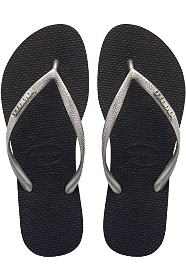 5f9606815 Havaianas Slim Logo Metallic Black Silver Strap Flip Flops Thongs Brazil  Rubber Sandals Beach  Amazon.co.uk  Shoes   Bags