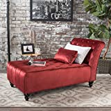 Cheap Rafaela Tufted New Velvet Chaise Lounge (Garnet)