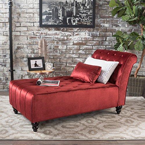 Christopher Knight Home Rubie New Velvet Chaise, Garnet (Chaise Sectional Tufted Sofa)