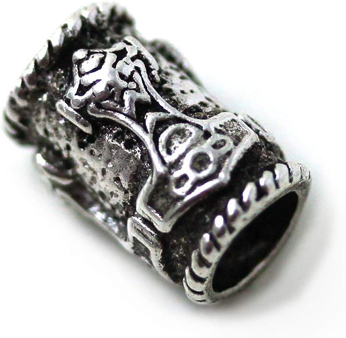 LynnAround 925 Sterling Silver Norse Thors Hammer Beard Beads Rings, Dreadlock Viking Pirate Hair, Pagan Jewelry