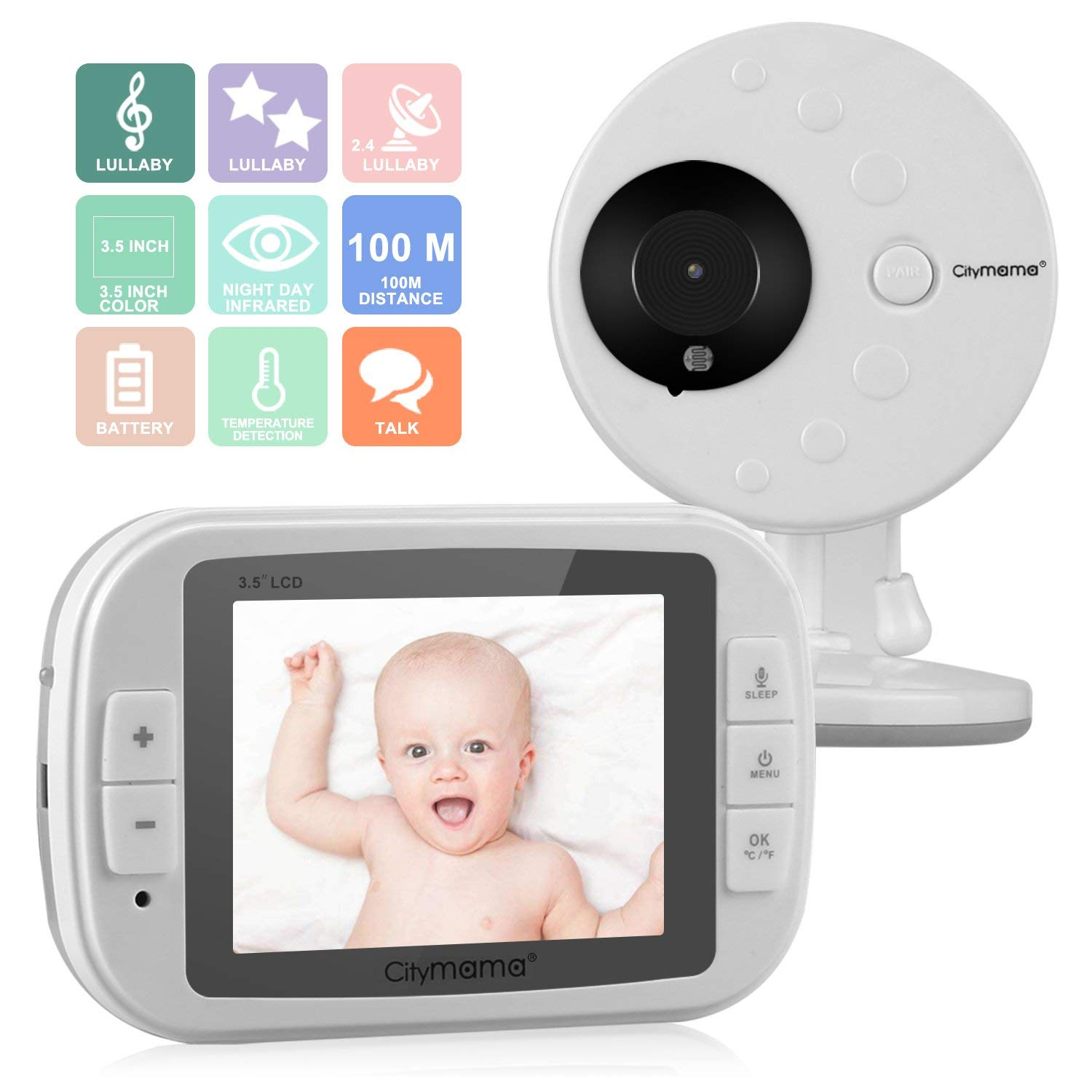 Smartip 3.5'' Wireless Video Baby Monitor with LCD Display Digital Camera Infrared Night Vision Two Way Talk Back Temperature Sensor Lullabies Including Corner Shelf