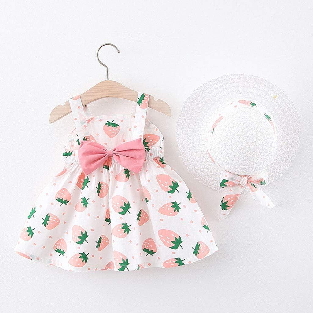 R-Cors 1-3Y Vestito per Bambini Toddler Baby Kids Girls Completini Abito da Principessa Bowknot Senza Maniche con Stampa Fragole e Cappello di Paglia
