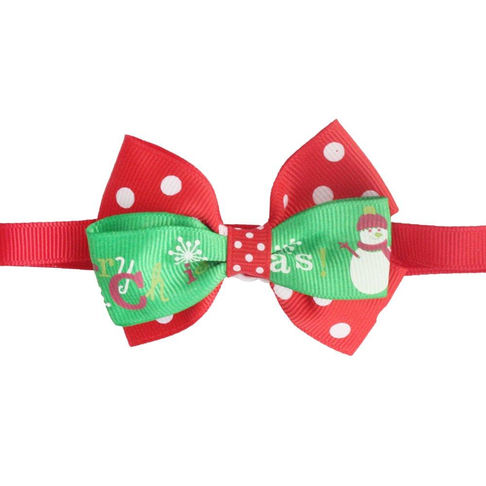 50PCs Dog Collar Handmade ColorBlock Bow Tie Snowman Merry Christmas Dress up Small Medium Dog
