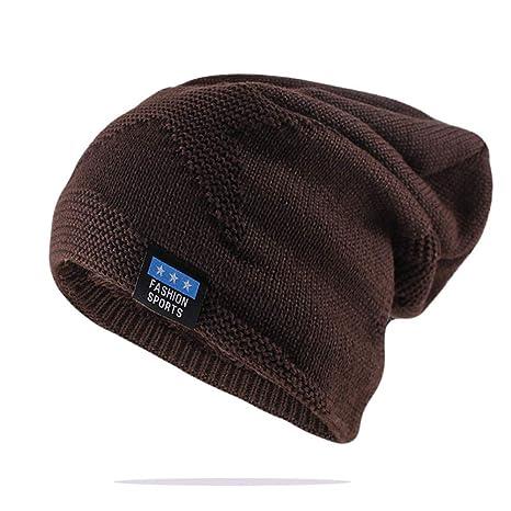 XZWHF Sombrero de Punto Gorros de Moda para Hombres Invierno ...