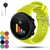 Feskio Correa de repuesto para reloj deportivo Suunto Spartan Ultra/Ultra HR, silicona suave, para reloj inteligente, con herramientas de instalación, Lime