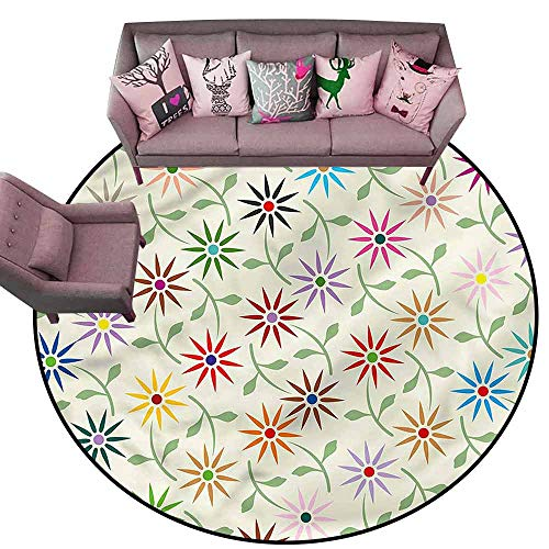 "Vintage Entrance Mat Floral,Colorful Graphic Garden Diameter 60"" Round Contemporary Indoor Area Rugs"