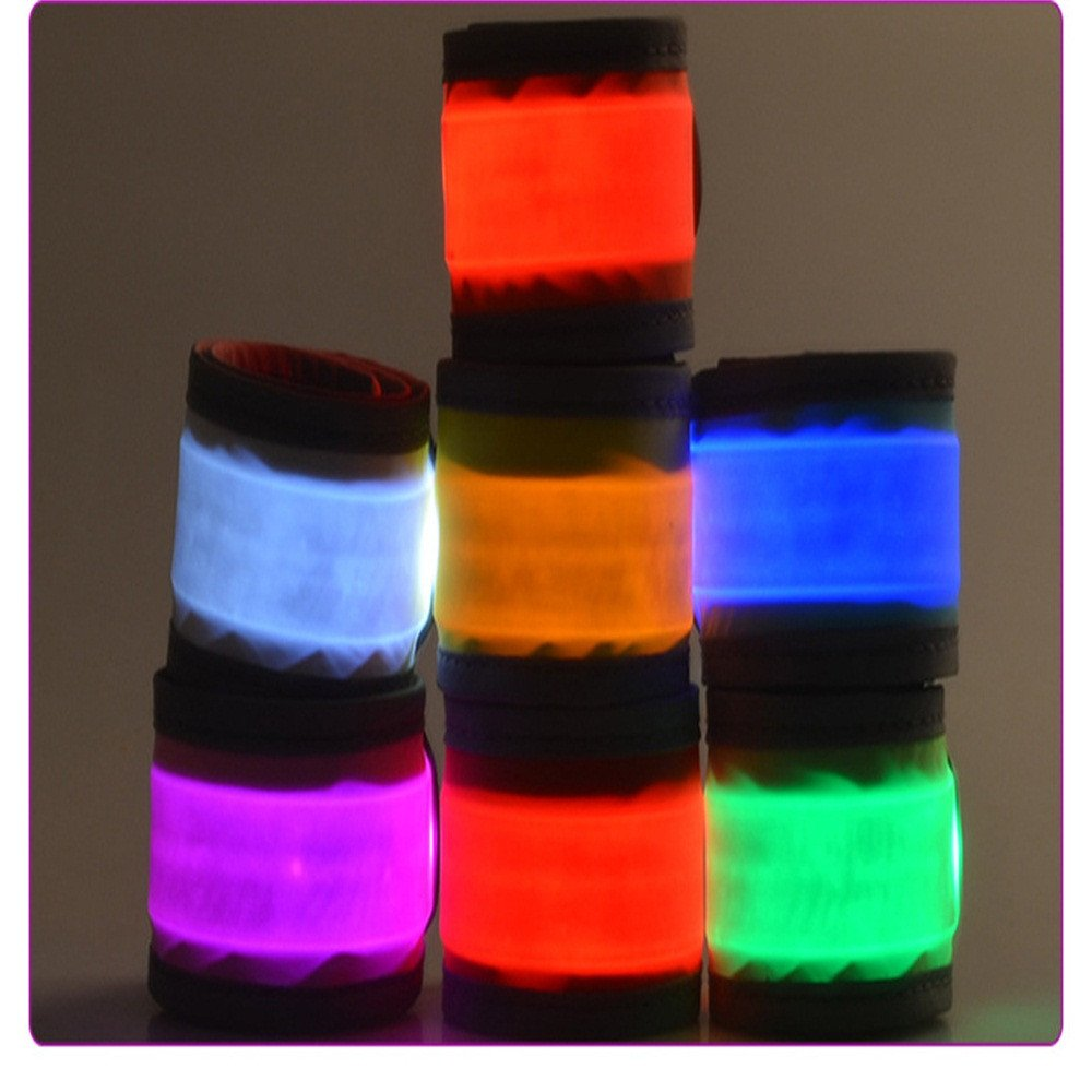 Glumes LED Wide Armband, Glow in the Dark Led Slap Bracelets Event Wristband For Men& Women, Night Safety Lights For Running Jogging Cycling Hiking Party Cheer Concert (Blue)