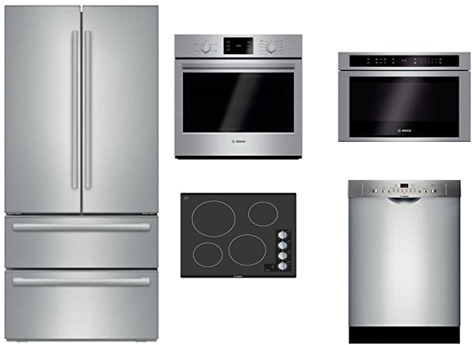 36 wall oven range hood bosch piece stainless steel kitchen package with b21cl81sns 36quot french door refrigerator nem5466uc amazoncom