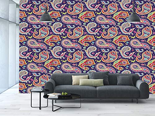 Large Paisley Wallpaper - iPrint Large Wall Mural Sticker [ Paisley Decor,60s and 70s Hippie Themed Motives with Geometrical and Floral Design Image,Purple ] Self-Adhesive Vinyl Wallpaper/Removable Modern Decorating Wall Art
