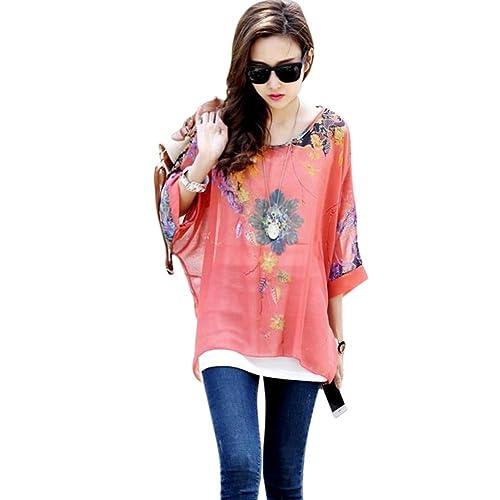 Fashionbeautybuy1 - Blusa holgada con mangas de murciélago, con estampado, talla única