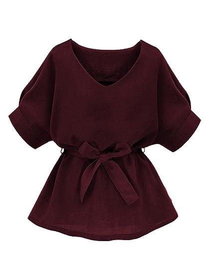 Milumia Women S V Neckline Self Tie Short Sleeve Blouse Tops At