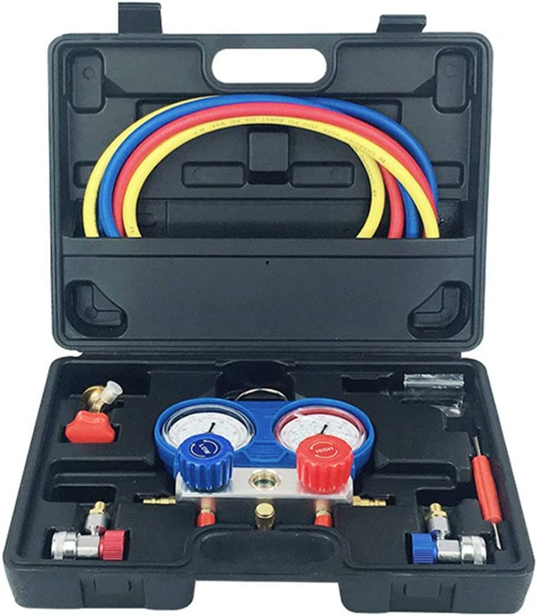 with 5FT Hoses Couplers and Acme Adapter MA09 ThreeH AC Manifold Gauge Set fit for R134A Refrigerants for Freon Charging