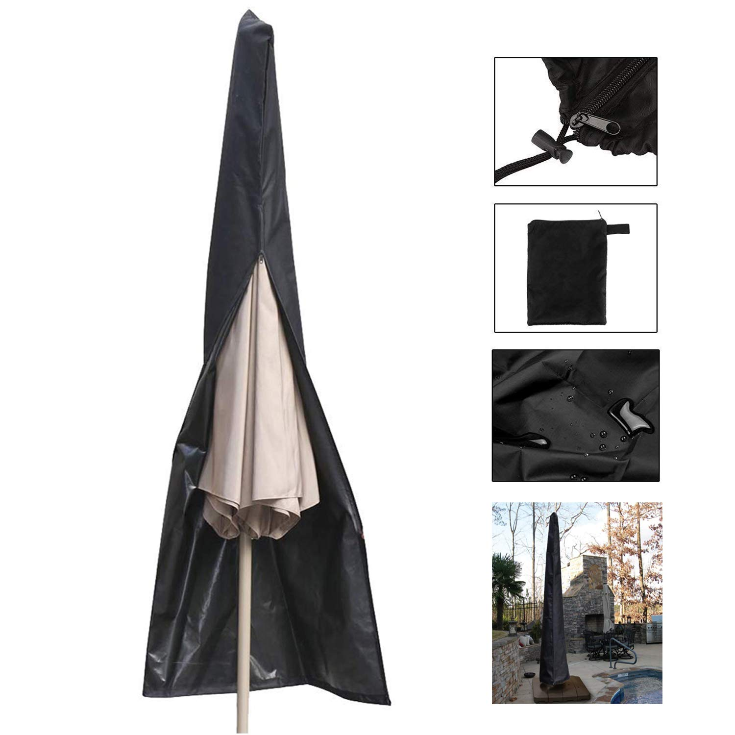 NicoleKayLan Waterproof Parasol Cover Garden Rotary Air Dryer Cover Heavy Duty UV Protected Banana Umbrella Cover Zip Draw String Design(Black)