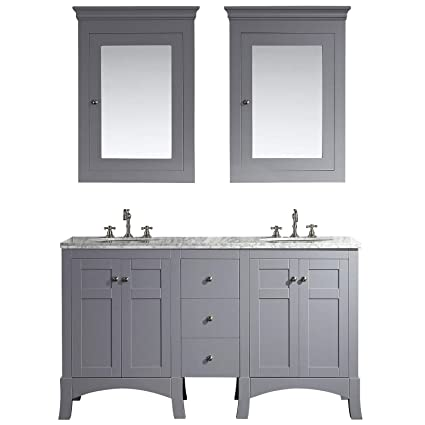 Eviva EVVN514 60GR New York 60 Grey Bathroom Vanity With White Marble Carrera Counter Top Sink Combination Gray Chilled