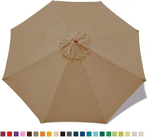 ABCCANOPY 23 Colors 9ft Market Umbrella Replacement Canopy 8 Ribs Khaki