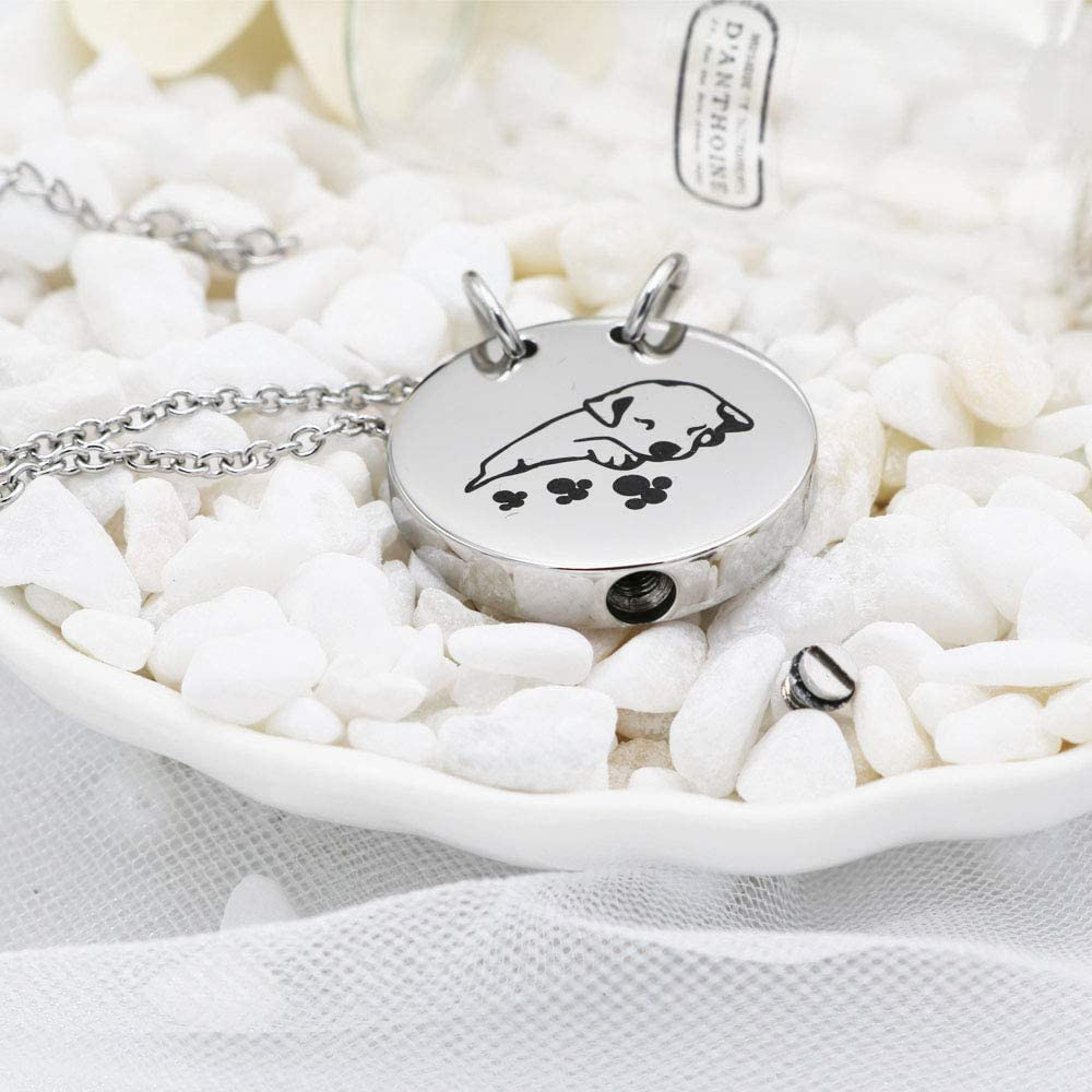 B07MMHW5P3 Pet Cremation Necklace for Ashes Urns Jewelry Stainless Steel Cute Dog Cat Keepsake Memorial Urn Pendant Locket 51QTZaH5A3L