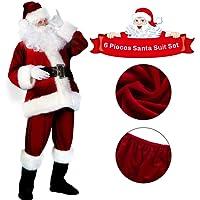 C-Oral Weihnachtsmannkostüm Kostüm Weihnachten Santa Claus Nikolauskostüm 6-teilig, Weinrot/Kombi-Set