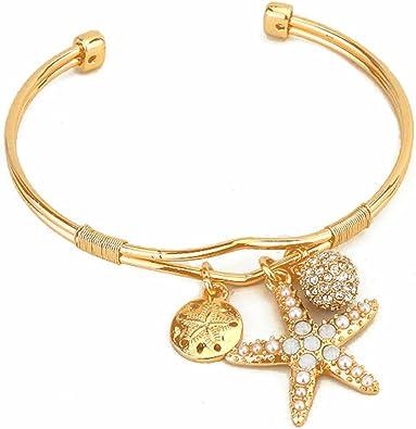 Starfish Charm Pendant Rhinestones Gold-tone