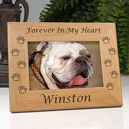 Personalized Dog Memorial Engraved Wood 4x6 Picture Frame with Choice of Quotes (Quote ()