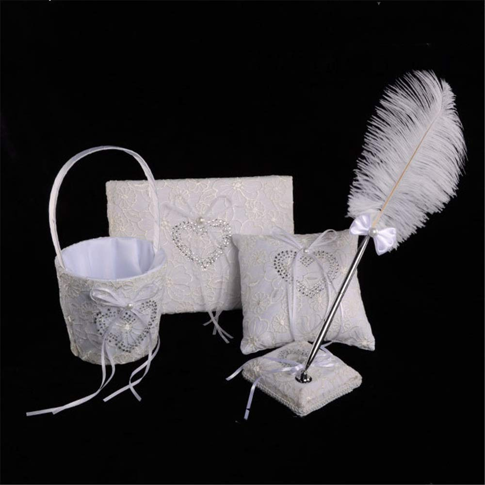 LPGK Wedding Flower Basket Bridal Wedding Wedding Four-Piece Set Ring Pillow Flower Basket Sign Pen to Sign Set Wedding Accessory (Color : White)