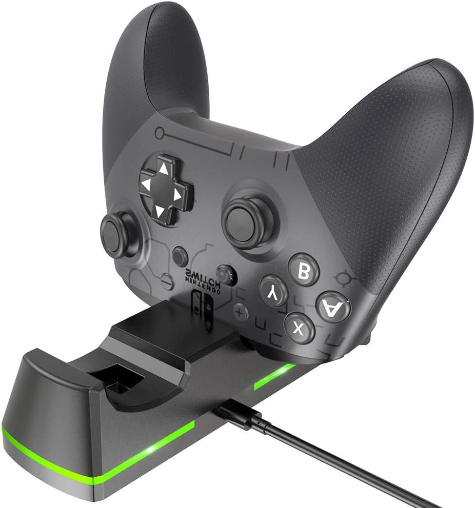 BENGOO - Base de Carga para Nintendo Switch Pro Controller, estación de Carga para Nintendo Switch con Puerto de Carga reemplazable y Cable de Carga USB Tipo C, Color Negro: Amazon.es: Electrónica