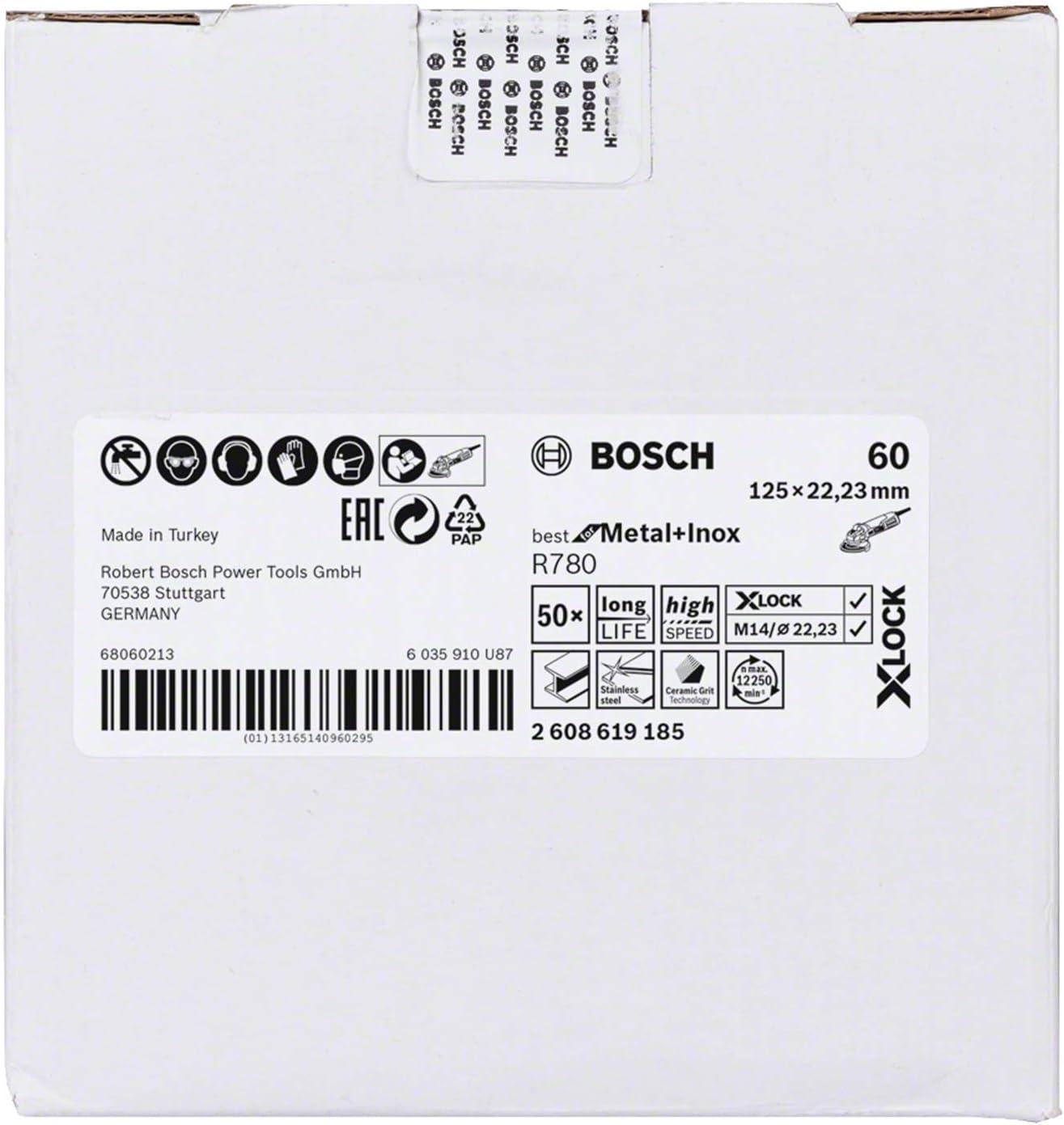 f/ür Metall//Inox, X-LOCK, R780, /Ø115 mm, K/örnung 100, Bohrungs/Ø: 22,23 mm Bosch Professional Fiberschleifscheiben Best