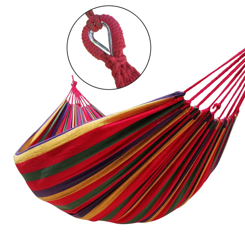 GOCAN Brazilian Double Hammock 2 Person Extra Large Canvas Cotton Hammock for Patio Porch Garden Backyard Lounging Outdoor and Indoor Rainbow Stripe
