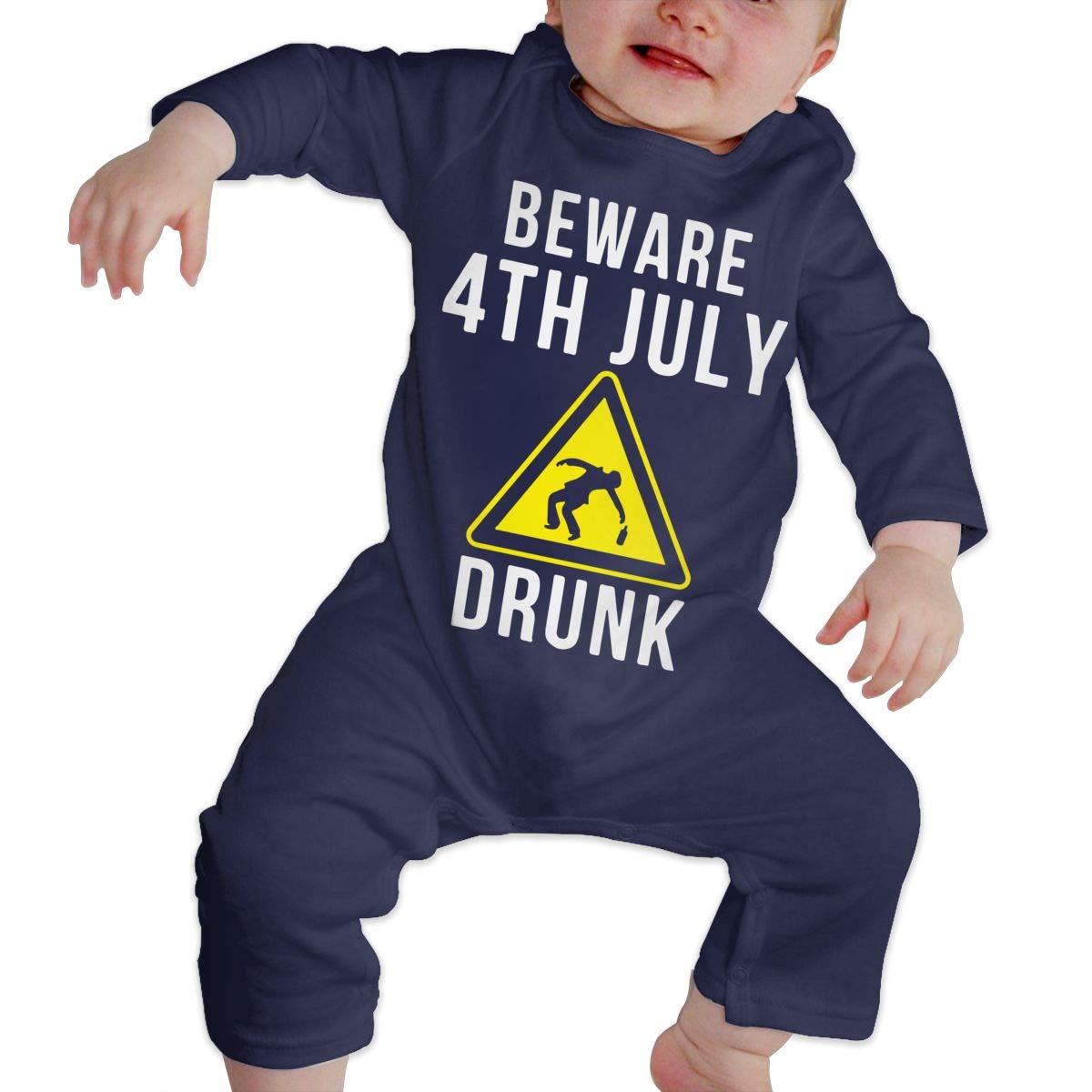 LBJQ8 Beware 4th July Drunk Newborn Infant Baby Girls Organic Cotton Romper Pajama Clothes
