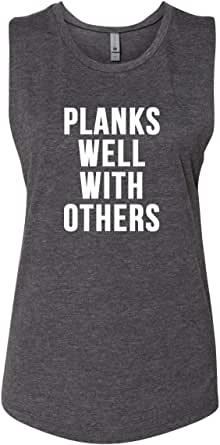 Panoware Women's Funny Workout Muscle Tank Top | Planks Well with Others