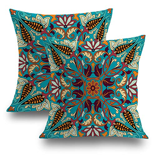 Indian Western Decorative Pillow Covers 18x18 Set of 2, Accessory Bandana With Paisley Silk Headscarf Kerchief Pattern Cushion Case for Sofa Bedroom Car Throw Pillow Covers Cushion Cover 45cm x 45cm ()