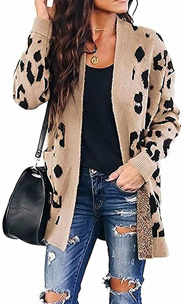 Ladies Womens Leopard Loose Fashion Knitted Long Sleeve Cardigan Chunky Sweater