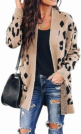 Fashion Women Open Front Cardigan Casual Long Jacket Coat Leopard Print Outwear