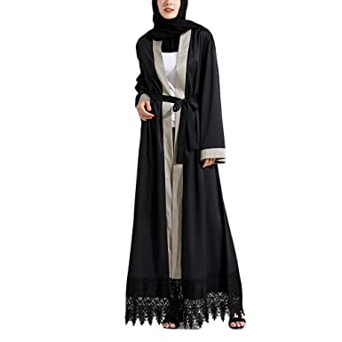 Zhuhaitf Muslims Womens Lace Cardigan Abaya Dubai Robes Long Maxi ...